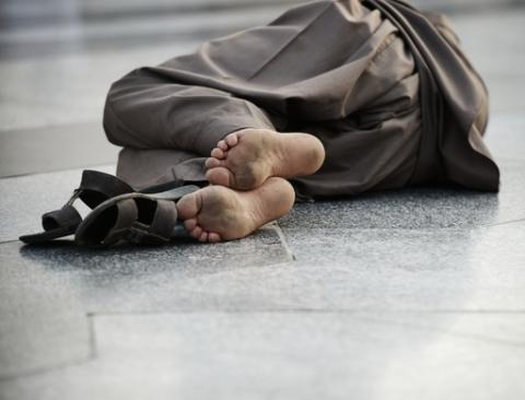 Pool man sleeping on street, poverty issue